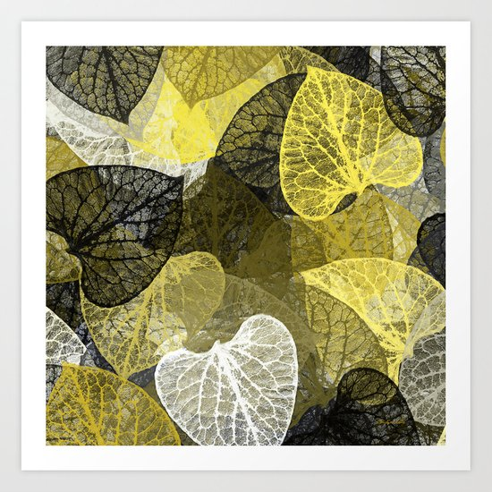 Black & Gold Leaf Abstract Art Print