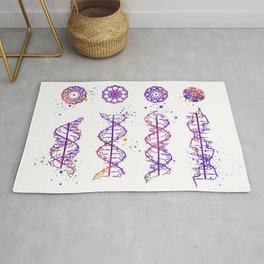 DNA Helix A-B-C-Z Genetic Art Colorful Purple Watercolor Gift Doctor Gift Evolution Art Rug