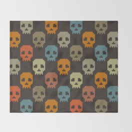 Knitted skull pattern - colorful Throw Blanket