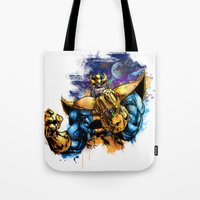 thanos Tote Bags featuring Thanos by Vincent Vernacatola