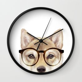 Shiba inu with glasses Dog illustration original painting print Wall Clock