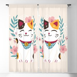 Japanese Lucky Cat with Cherry Blossoms Blackout Curtain