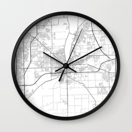 Minimal City Maps - Map Of Joliet, Illinois, United States Wall Clock
