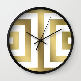 Gold Greek Stripes Wall Clock