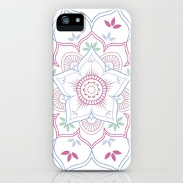 Floral Mandala in soft pastel colors iPhone Case