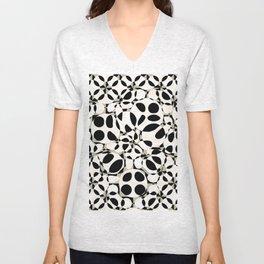black and white circles in squares Unisex V-Neck
