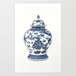 Blue & White Chinoiserie Porcelain Ginger Jar with Birds & Flowers Art Print