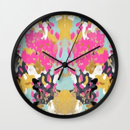 Laurel - Abstract painting in a free style with bold colors gold, navy, pink, blush, white, turquois Wall Clock