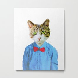 Cute funny cat with blue shirt Metal Print