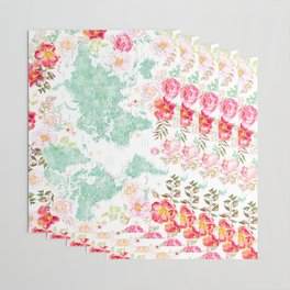 Mint green and hot pink watercolor world map with cities Wrapping Paper