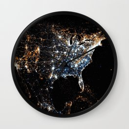North America and the United States aerial view from outer space at night Wall Clock