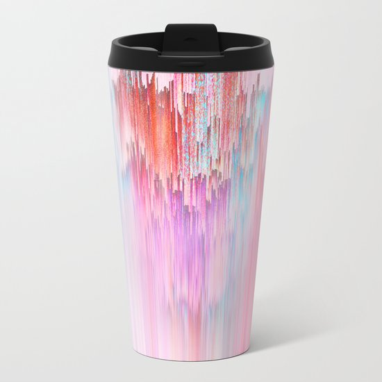 Abstract Cascade Glitch 2.Red and Pink Metal Travel Mug