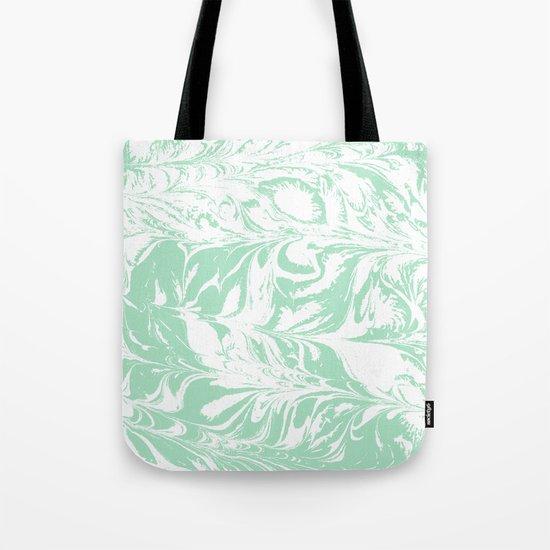 Asa - spilled ink mint marble japanese watercolor marbling marbled water wave ocean sea minimal Tote Bag