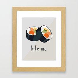 Sushi bite me design Framed Art Print