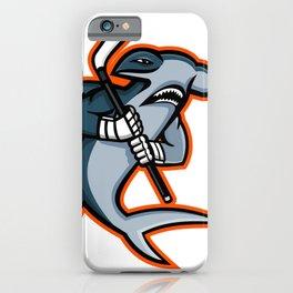 Hammerhead Ice Hockey Player Mascot iPhone Case