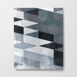 blue abstract, abstract art, office art, contemporary art, geometric print, modern painting, mid cen Metal Print