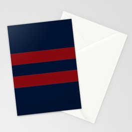Navy Two Red Horizontal Bars Stationery Cards