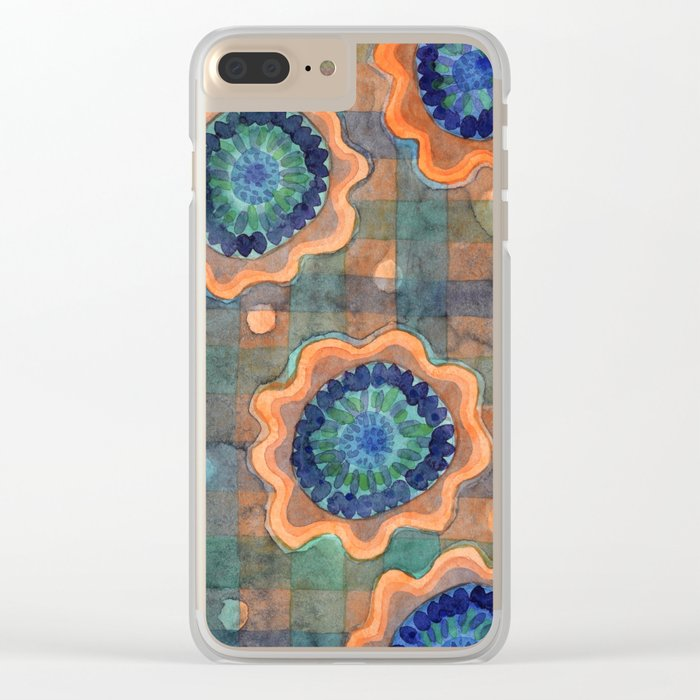 Glowing Fancy Flowers on Checks Clear iPhone Case