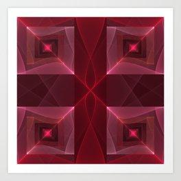Graphic Design, Modern Luminous Fractal Pattern Art Print
