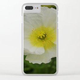 White Poppy Clear iPhone Case