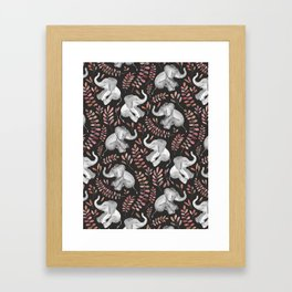 Laughing Baby Elephants - Coral Framed Art Print