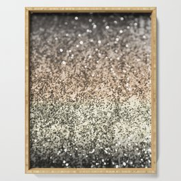 Sparkling GOLD BLACK Lady Glitter #2 #decor #art #society6 Serving Tray
