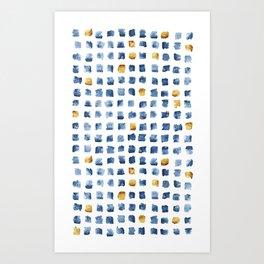 Watercolor Indigo Gold Geometrical Squares Pattern Art Print