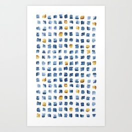 Watercolor Indigo Gold Geometrical Squares Pattern Art Print