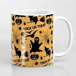 Orange Halloween Pattern - Ghost, Skeleton, Spider, Web, Flying Witch, Bat Coffee Mug