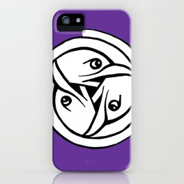 Celtic Art - Bird Head Triskele - on Purple iPhone Case