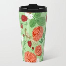 Roses and strawberries on green Travel Mug