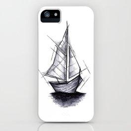 Sailboat Handmade Drawing, Art Sketch, Barca a Vela, Illustration iPhone Case