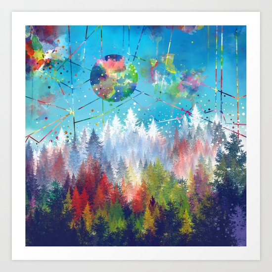 colorful forest 3 Art Print