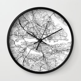 Stockholm White Map Wall Clock
