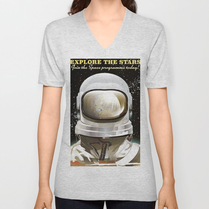 Explore the stars - Join the space programme today! Unisex V-Neck