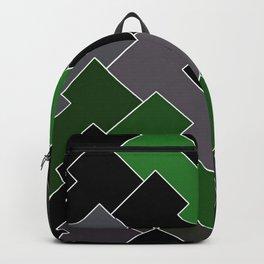 Minimal Geometric Abstract Green Grey Black White Backpack