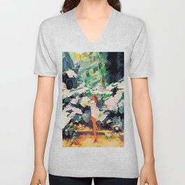 Live Quietly In a Corner Of Nature, Modern Bohemian Woman Jungle Forest Eclectic Painting Unisex V-Neck