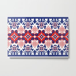Asian red and blue pattern Metal Print