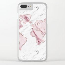 Wanderlust marble - pink stone Clear iPhone Case