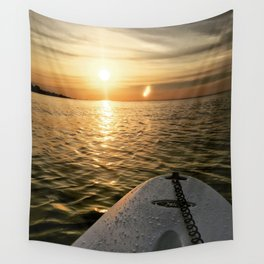 Paddle Board Sunset Wall Tapestry