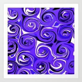 Bright Blue Violet Swirls Art Print