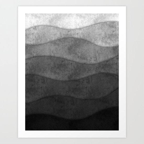 Monochrome waves Abstract modern art Art Print