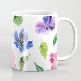 Blue, pink flowers. Watercolor florals. Botany. Coffee Mug