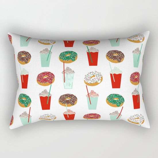 Christmas donuts sweet treats doughnuts coffee cafe latte foodie foods Rectangular Pillow