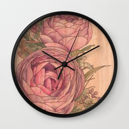Flowers on Wooden Panel 1 Wall Clock