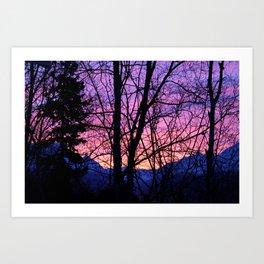 Sunrise Through The Trees Art Print