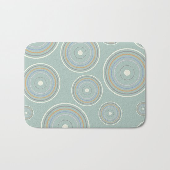 CONCENTRIC CIRCLES IN GREEN (abstract pattern) Bath Mat