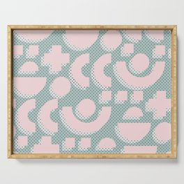 Memphis Pattern - Gemetrical  Retro Art in Pink and Mint - Mix & Match With Simplicity Of Life Serving Tray