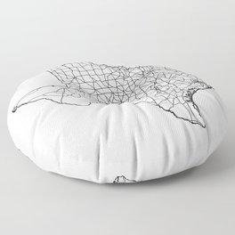 Texas White Map Floor Pillow
