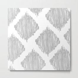 Gray Scribble Diamonds Metal Print
